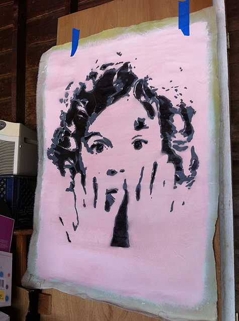 Shirley temple   spray paint on canvas