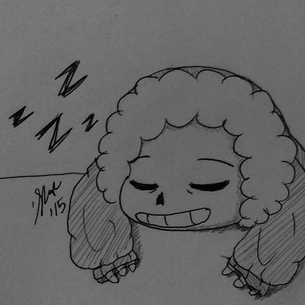 Thumb sleeping smol sans