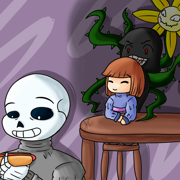 Thumb sans  frisk geno frisk and flowey